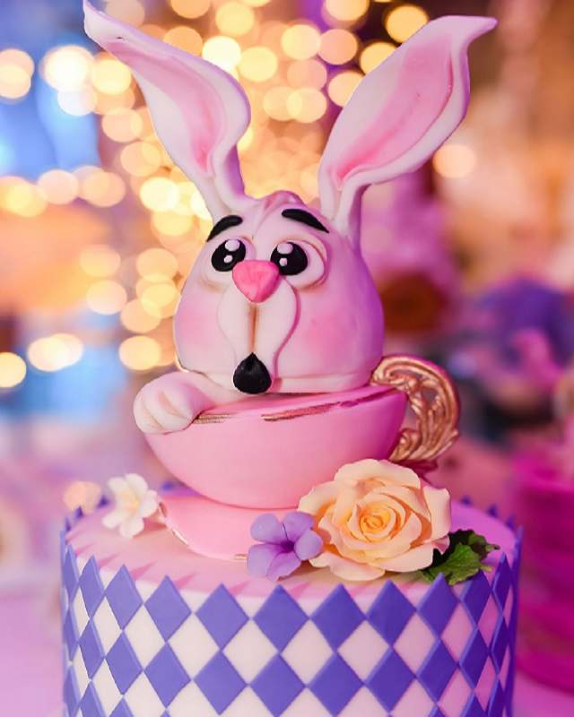 torta coniglio per festa di primo compleanno