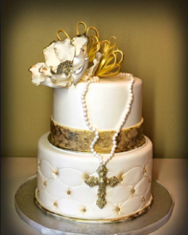 torta bambina oro per comunione